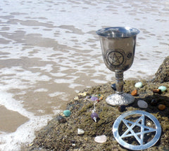 Sea altar with chalice and pentacle
