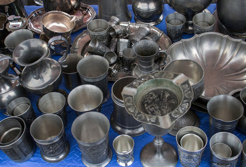 Silver and pewter vessels for sale