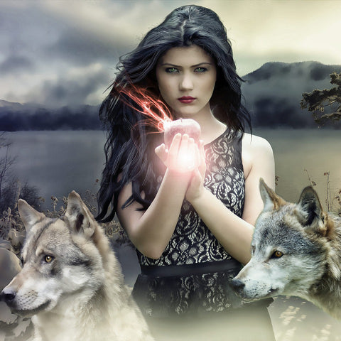 A witchy girl with wolves