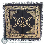 "Black and Gold Triple Moon Altar Cloth 18"" - Grove and Grotto"