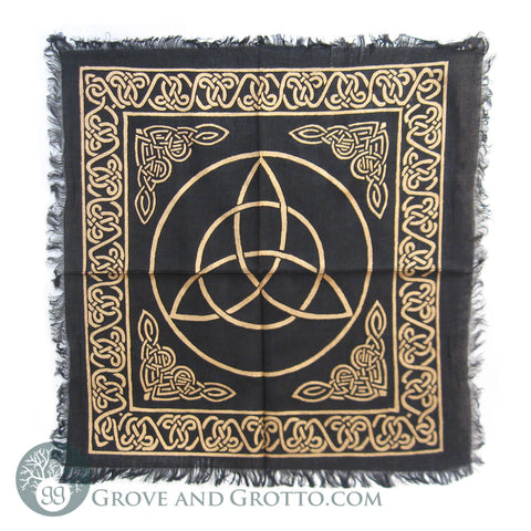 "Black and Gold Triquetra Altar Cloth 18"" - Grove and Grotto"