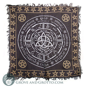 Metallic Pagan Calendar Altar Cloth 36""