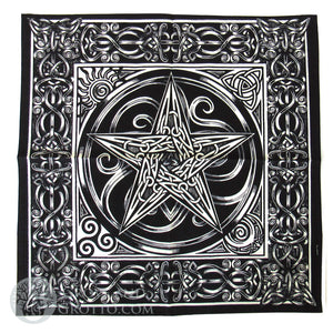 Black and Grey Pentacle Altar Cloth 24""