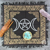 "Metallic Triple Moon Altar Cloth 18"" (Silver and Gold)"