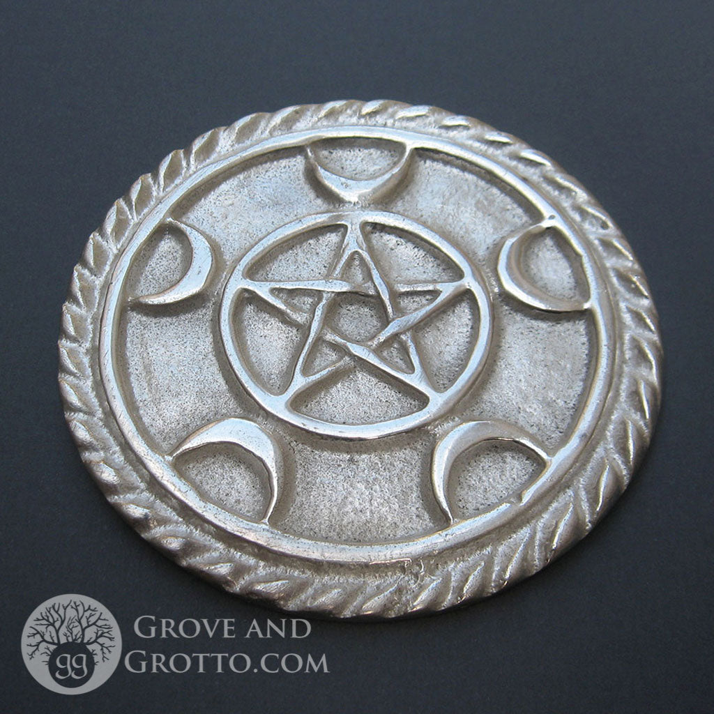 Crescent Pentacle Altar Tile - Grove and Grotto