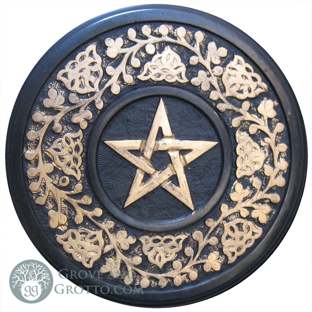 "Hand-Painted Pentagram Tile 9"" - Grove and Grotto"