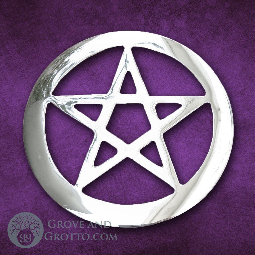 "Silver-Plated Pentacle Altar Tile 4.5"" - Grove and Grotto"