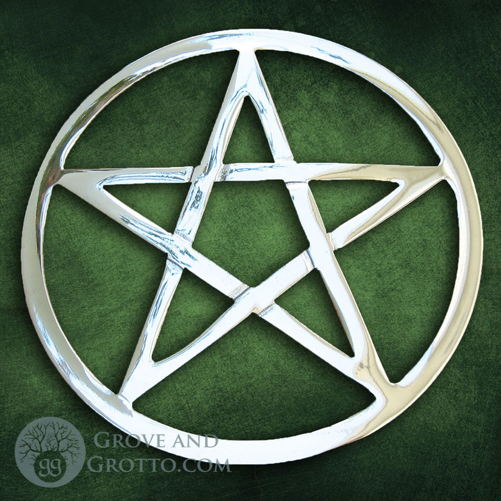 "Silver-Plated Pentacle Altar Tile 5.75"" - Grove and Grotto"