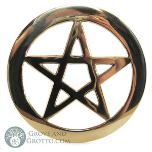 "Brass Pentacle Altar Tile 4.5"" - Grove and Grotto"