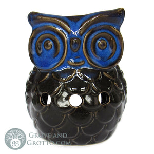 Owl Ceramic Aroma Lamp (Blue/Black)
