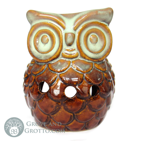 Owl Ceramic Aroma Lamp (Tan/Orange)