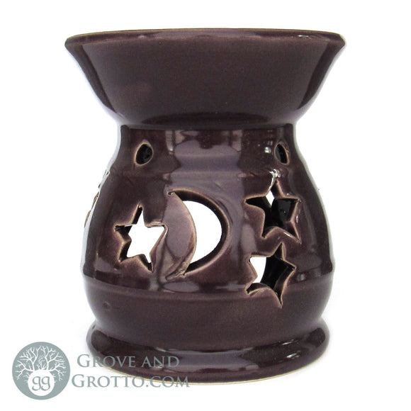 Moon and Stars Ceramic Aroma Lamp (Purple)