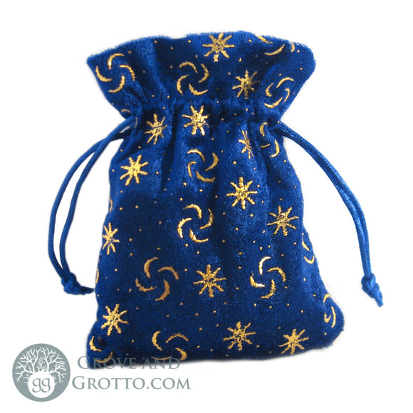 Mini Celestial Velvet Bag (Blue and Gold) - Grove and Grotto