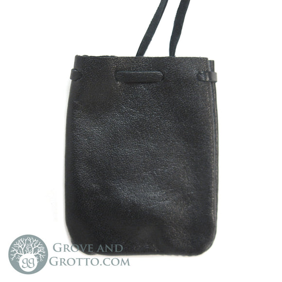 Leather Mojo Bag (Black) - Grove and Grotto