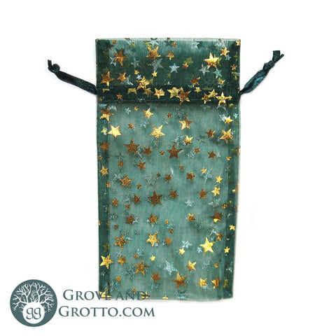 Green Organza Pouch with Gold Stars 3x4""
