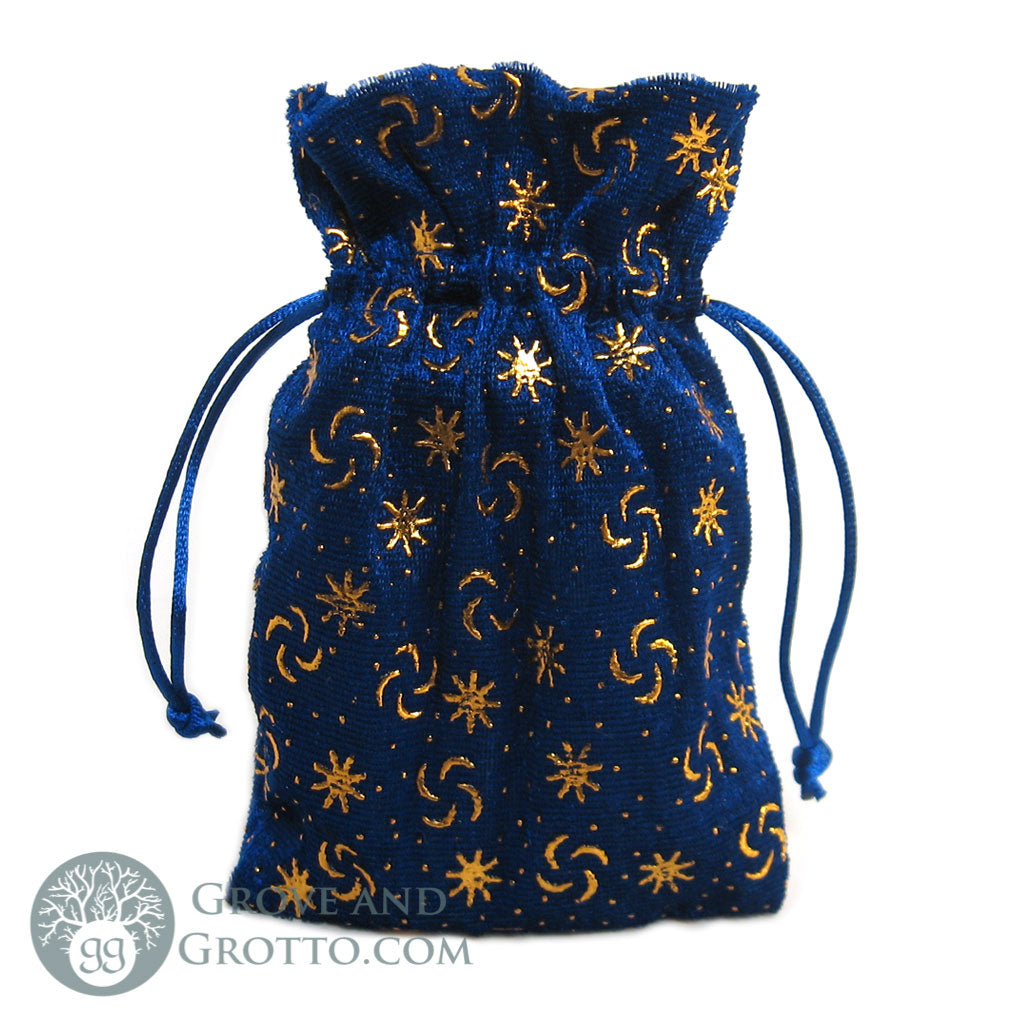 Celestial Velvet Bag (Blue and Gold) - Grove and Grotto