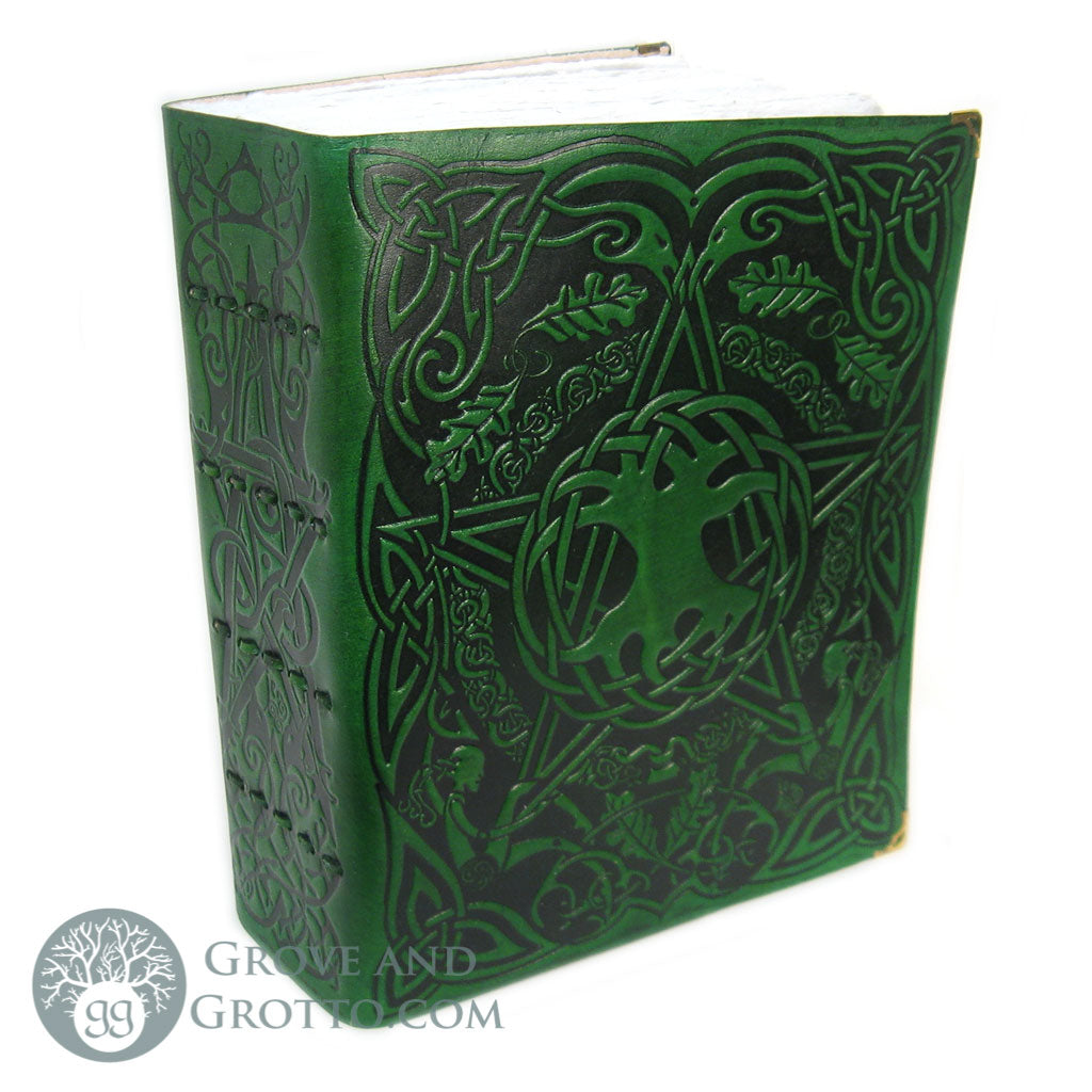Green Tree Pentagram Book of Shadows (White Paper) - Grove and Grotto