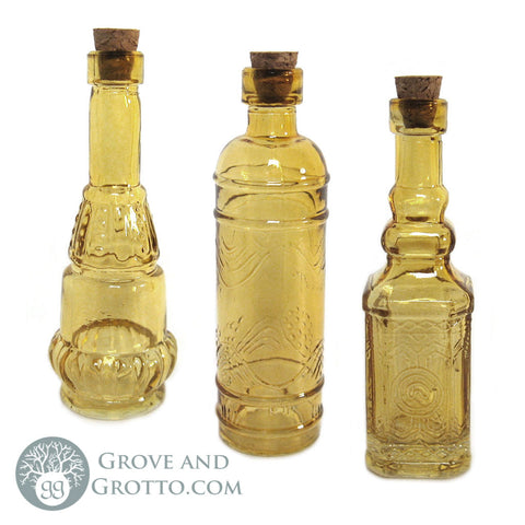 Set of 3 Amber Glass Bottles (Style A)