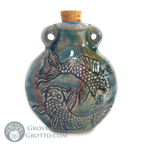 Fish Raku Bottle