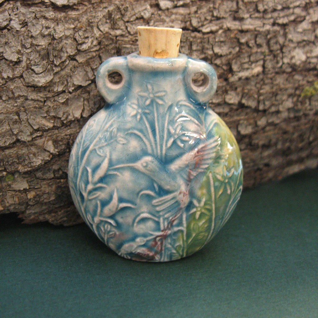 Hummingbird Raku Bottle - Grove and Grotto