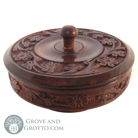 Carved Wooden Bowl with Lid - Grove and Grotto