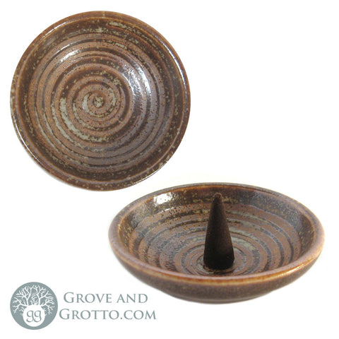 "Ceramic Swirl Dish 3.25"" (Light Brown) - Grove and Grotto"
