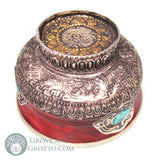 "Tibetan Style Offering Bowl with Stone 4"" - Grove and Grotto"