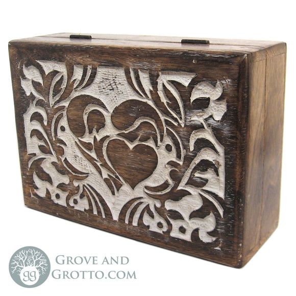 Carved Wooden Heart Box - Grove and Grotto