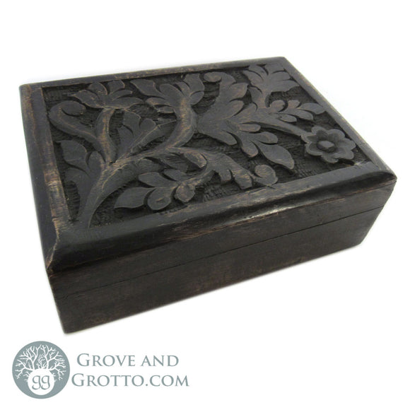 Acanthus Dark Wood Box - Grove and Grotto