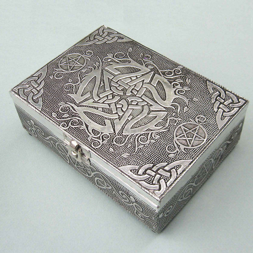 Antiqued Silver Pentacle Box - Grove and Grotto