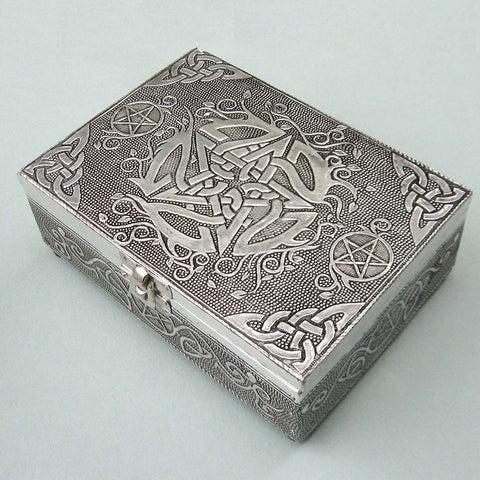 Antiqued Silver Pentacle Box