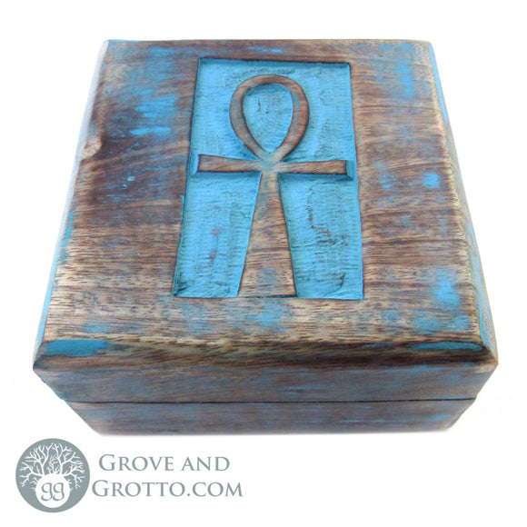 Ankh Painted Wood Box - Grove and Grotto