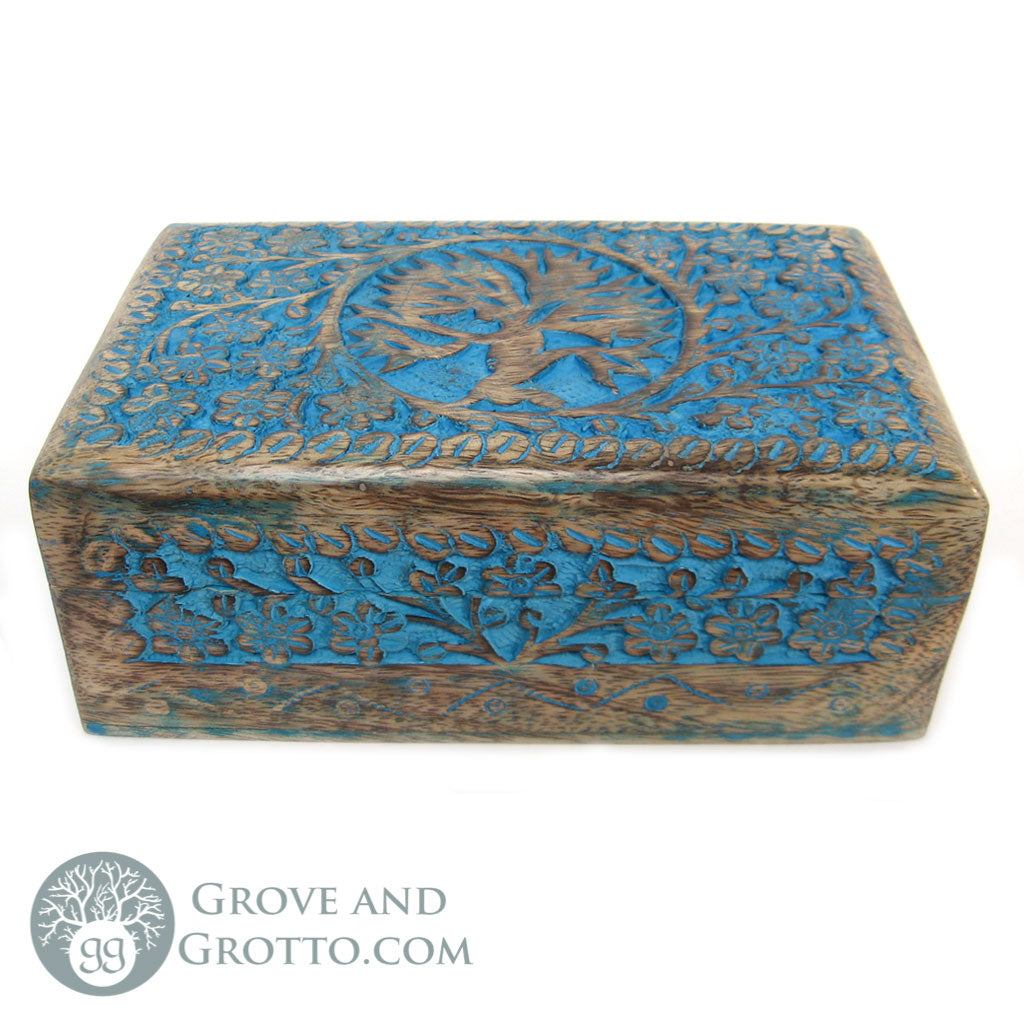 "Blue Tree of Life Wood Box 5x8"" - Grove and Grotto"