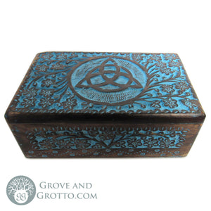 "Blue Triquetra Wood Box 5x8"" - Grove and Grotto"