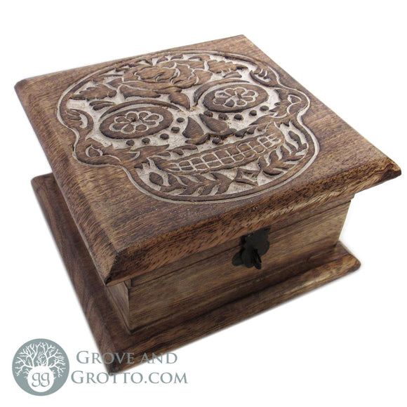 Day of the Dead Carved Wood Box