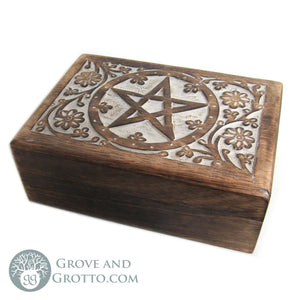 Carved Wooden Pentagram Box - Grove and Grotto