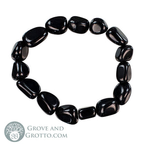 Tumbled Black Obsidian Bracelet - Grove and Grotto