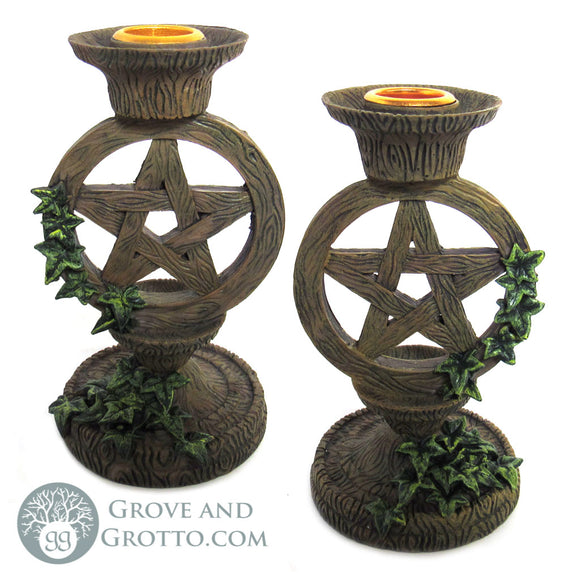Pentagram and Ivy Candle Holders (Set of 2) - Grove and Grotto