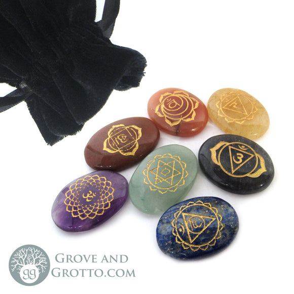 Engraved Chakra Stone Set with Bag