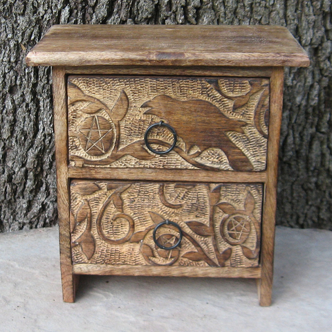 Raven and Pentagram Two-Drawer Chest