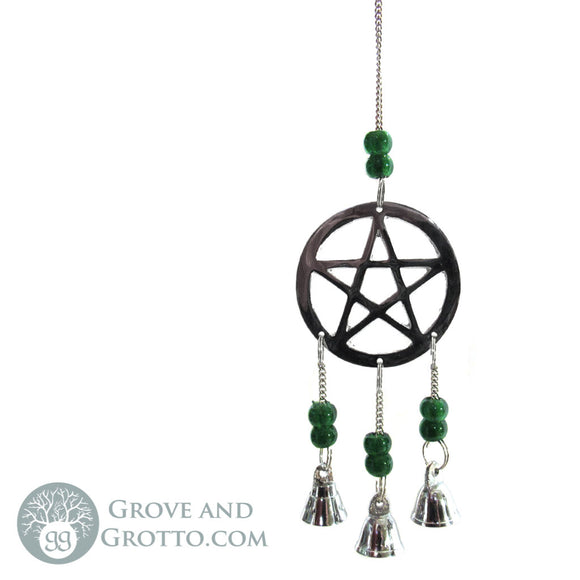 Pentagram Chime with Bells (Green) - Grove and Grotto