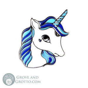 Blue Unicorn Enamel Pin - Grove and Grotto