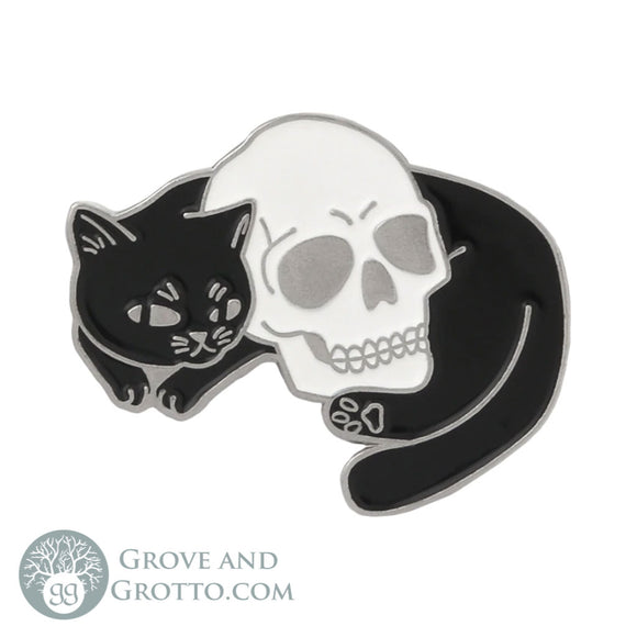 Cat with Skull Enamel Pin - Grove and Grotto