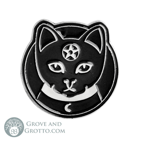 Witchy Kitty Enamel Pin - Grove and Grotto