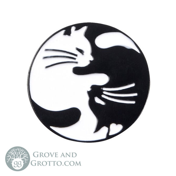 Yin Yang Cat Enamel Pin - Grove and Grotto