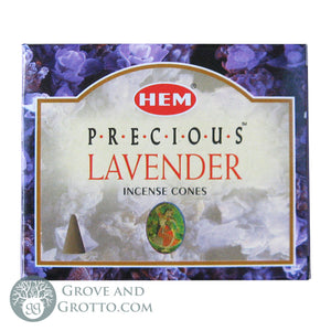 HEM Incense Cones - Precious Lavender - Grove and Grotto
