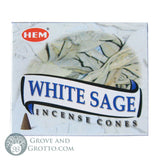 HEM Incense Cones - White Sage - Grove and Grotto