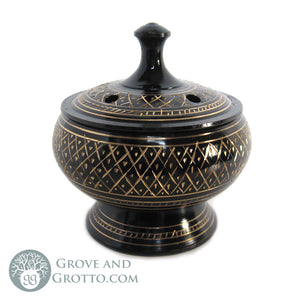 Engraved Incense Burner with Lid - Grove and Grotto