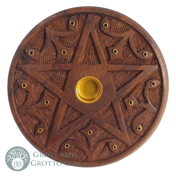 Wooden Pentacle Incense Burner - Grove and Grotto