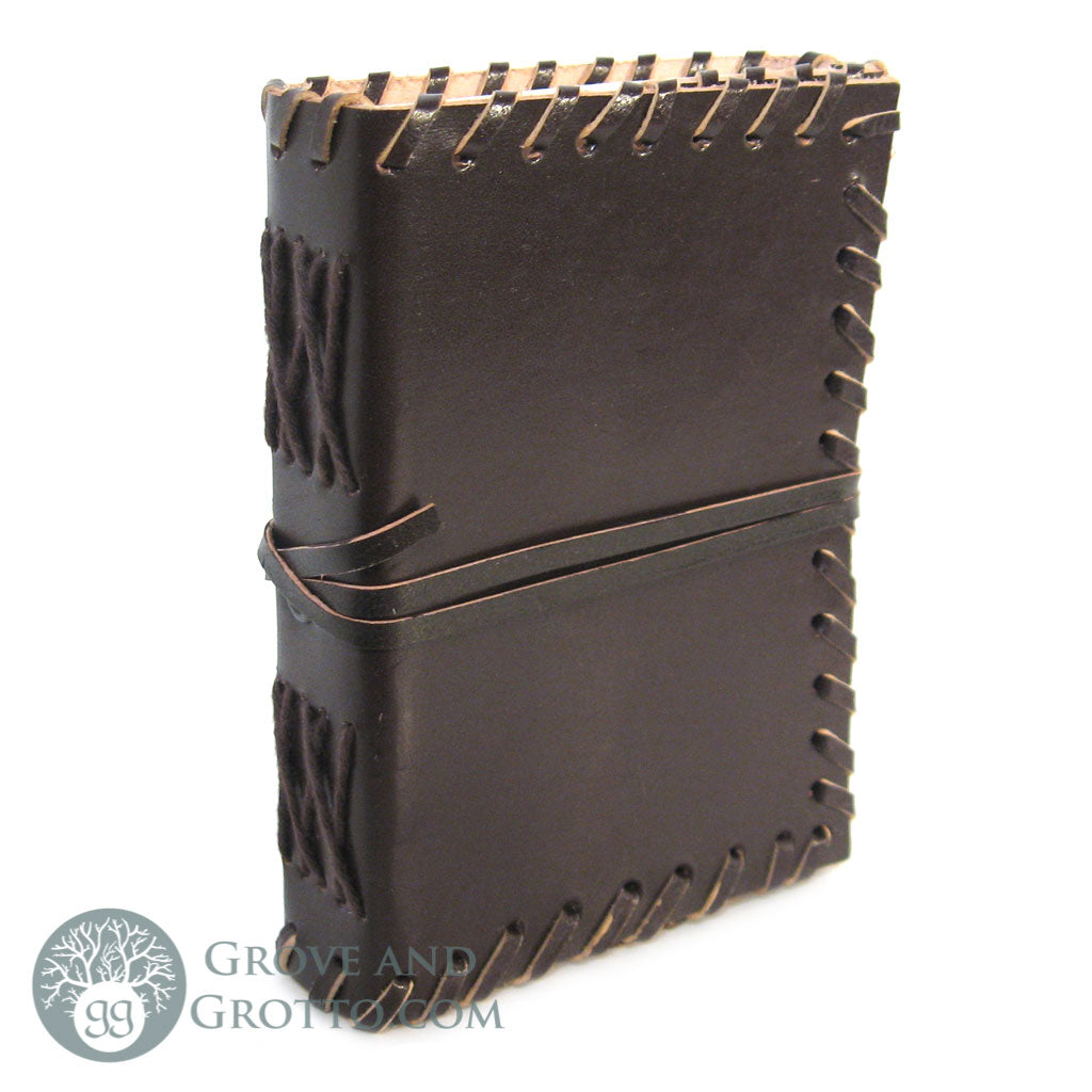 Small Leather Journal with Cord (Dark Brown)